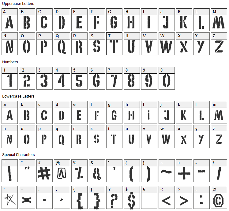 My World Font Character Map