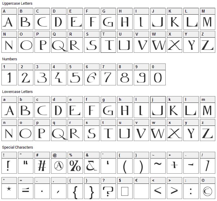 Mylene Farmer Font Character Map