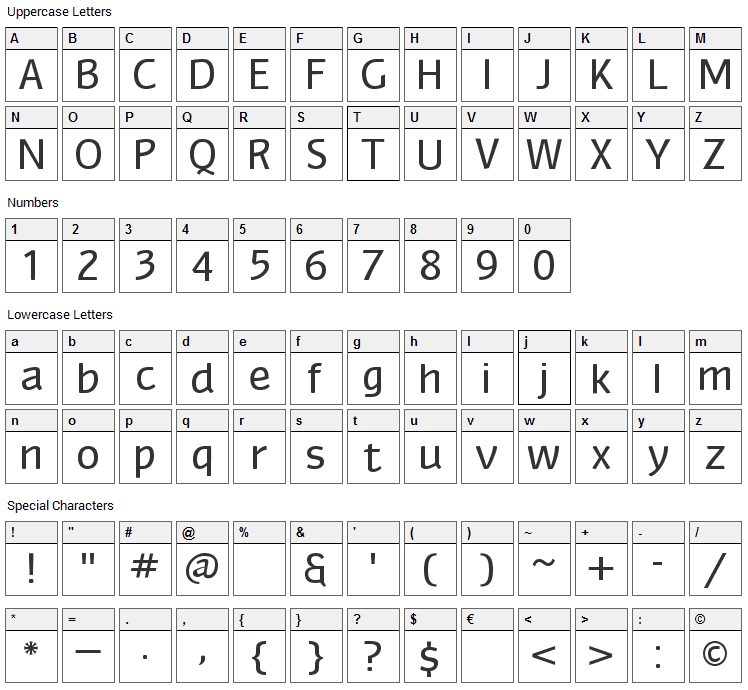 Myndraine Font Character Map