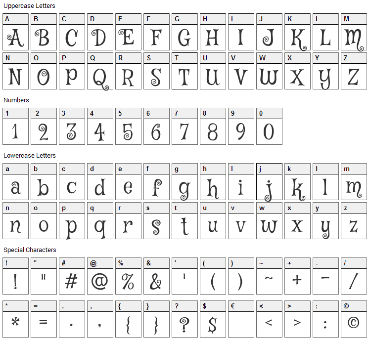 Mystery Quest Font Character Map