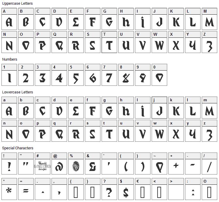 Mystic Prophet Font Character Map