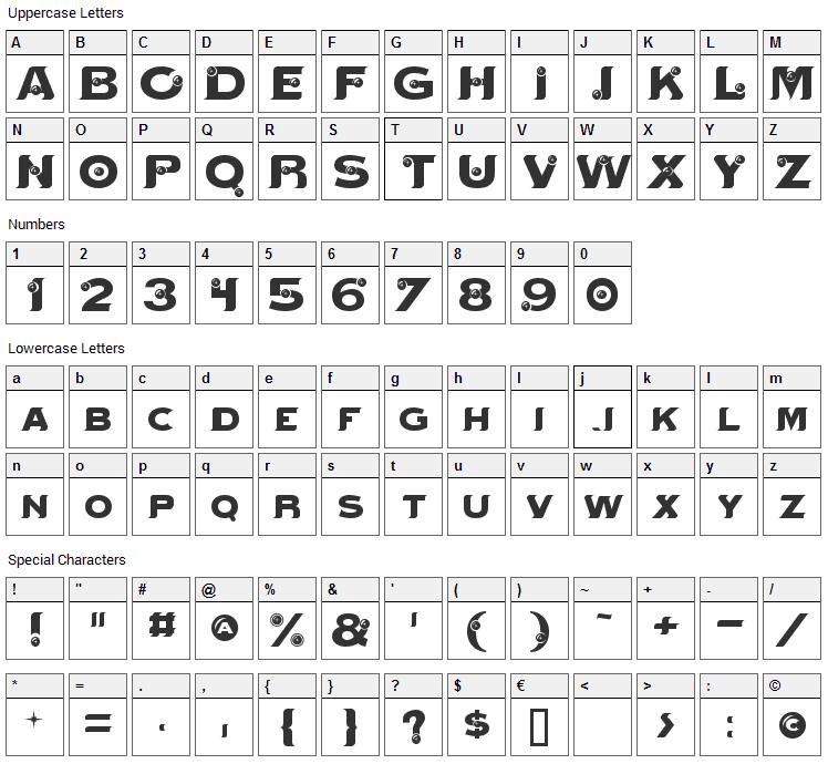 Mystik Orbs Font Character Map