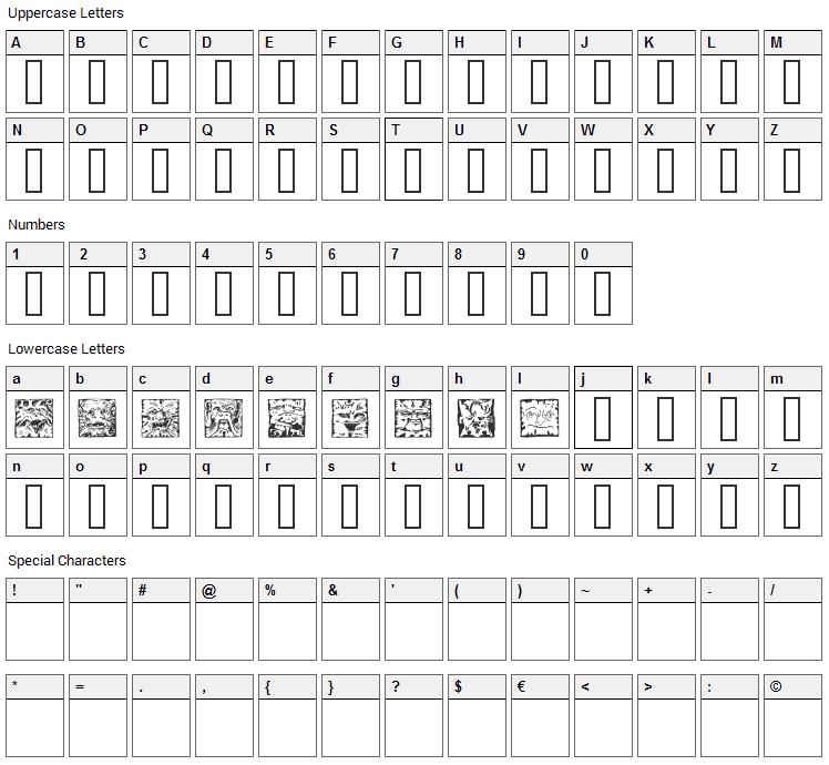 Mythago Font Character Map