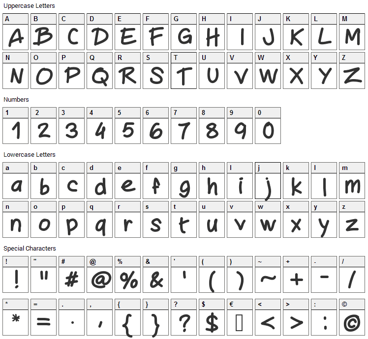 Mywriting Font Character Map