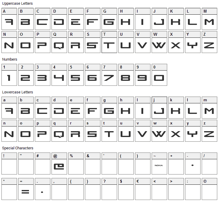N-Gage Font Character Map