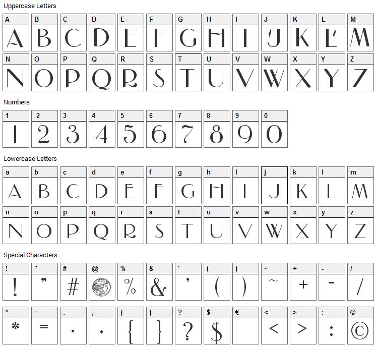 Nadall Font Character Map