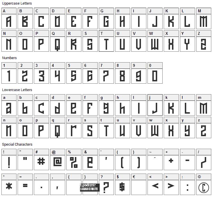 Naftalene Font Character Map