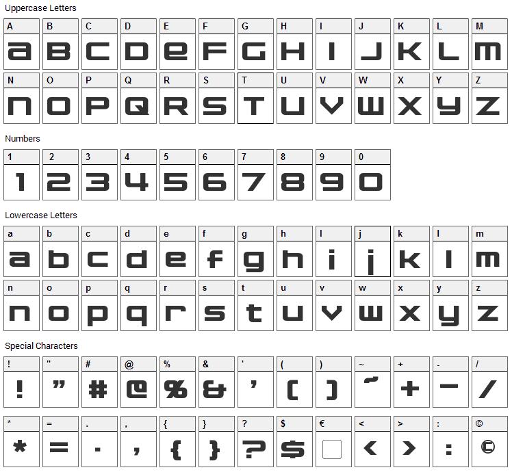 Nakadai Font Character Map