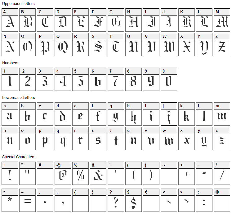 Naked Monk Font Character Map