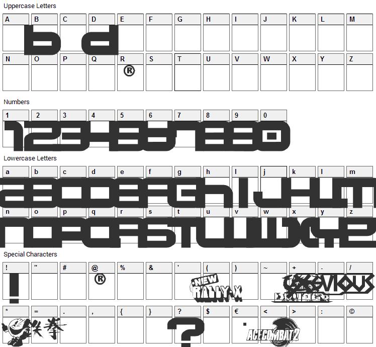 Namco Font Character Map