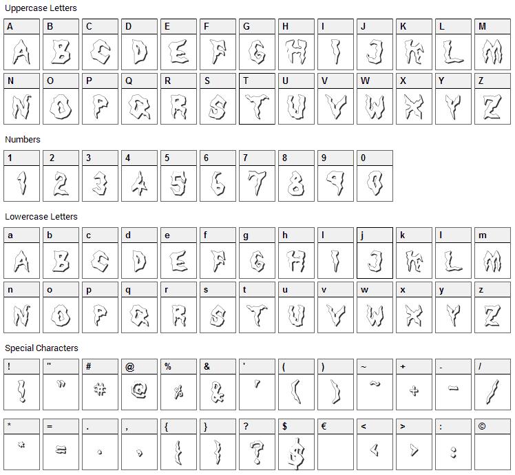 Nameless Harbor Font Character Map