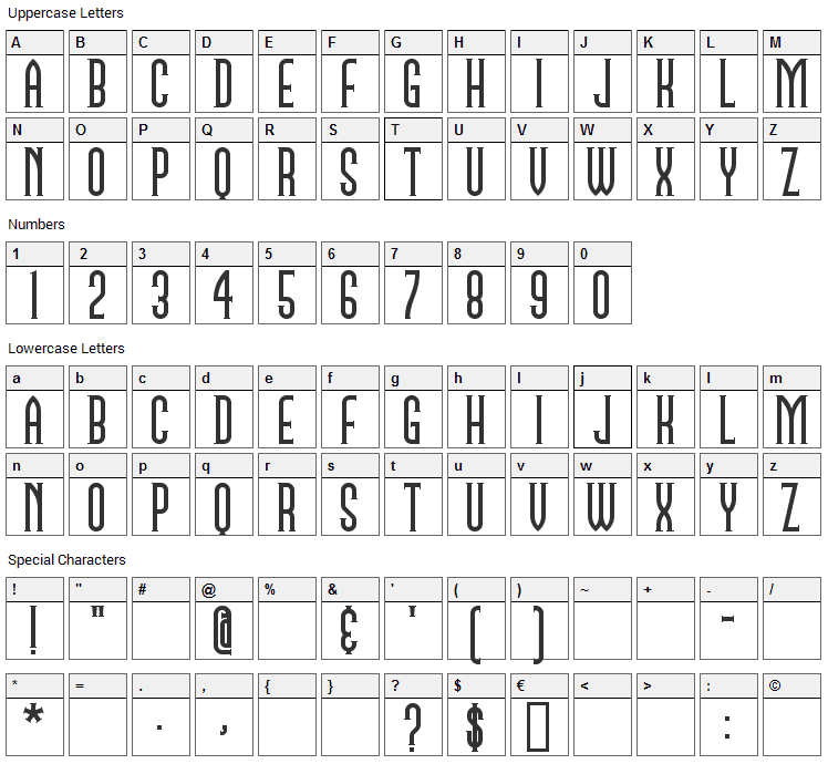 Namesake Font Character Map