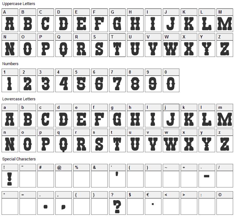 Nandaka Western Font Character Map