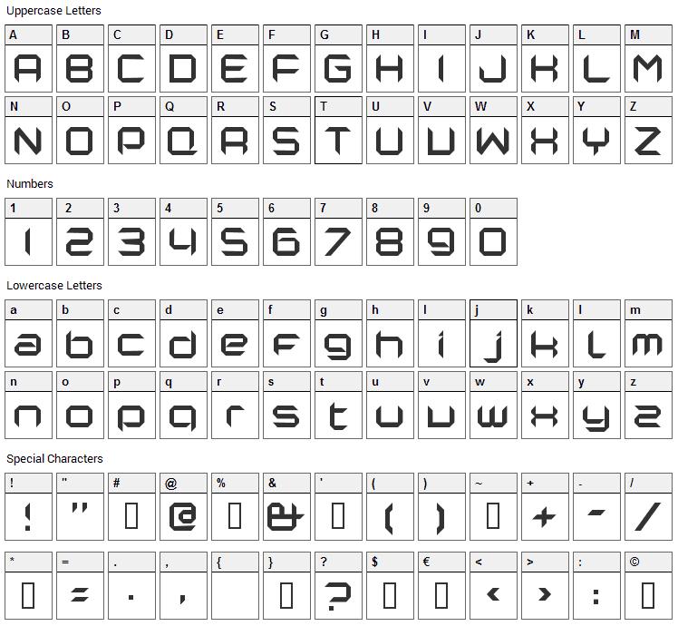 Nano Font Character Map