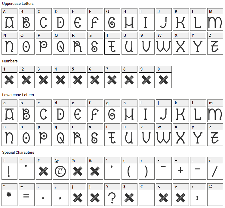 Nantronte Font Character Map