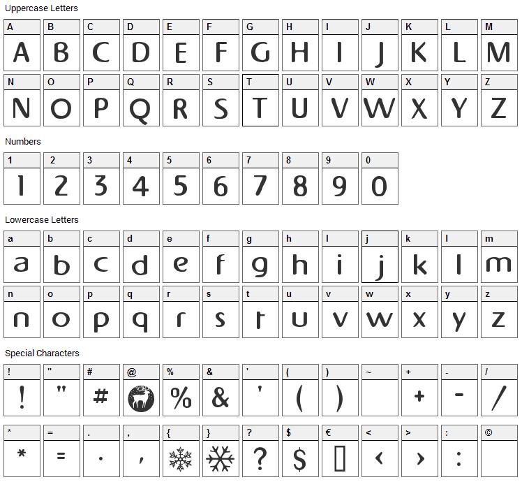 Napapiiri Font Character Map