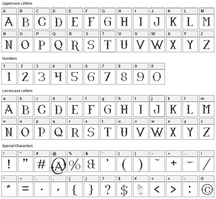 Narnfont Font Character Map