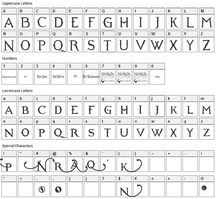 Narnia Font Character Map