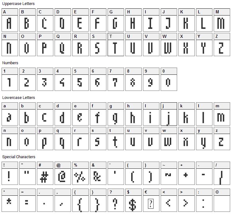 NarrowPix Font Character Map