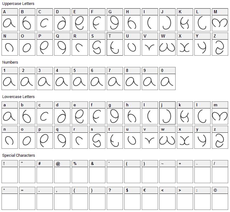 Natalie Font Character Map