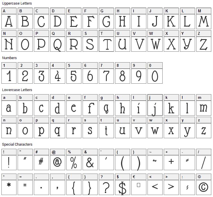 Nathan Font Character Map