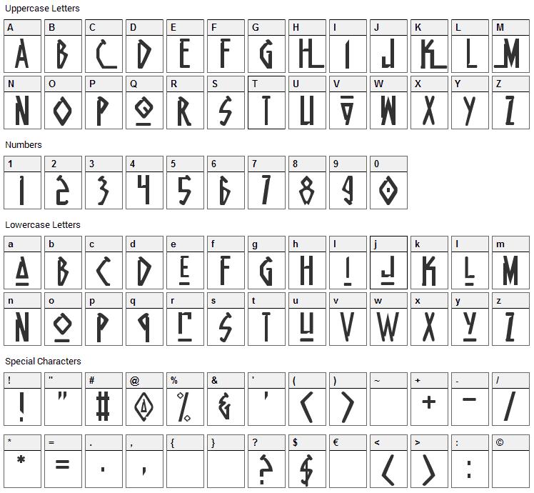 Native Alien Font Character Map