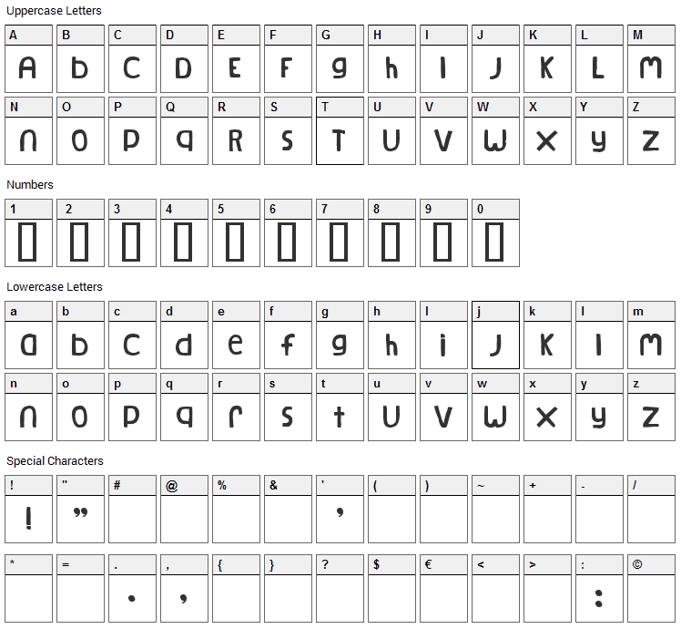 Natural Log Font Character Map