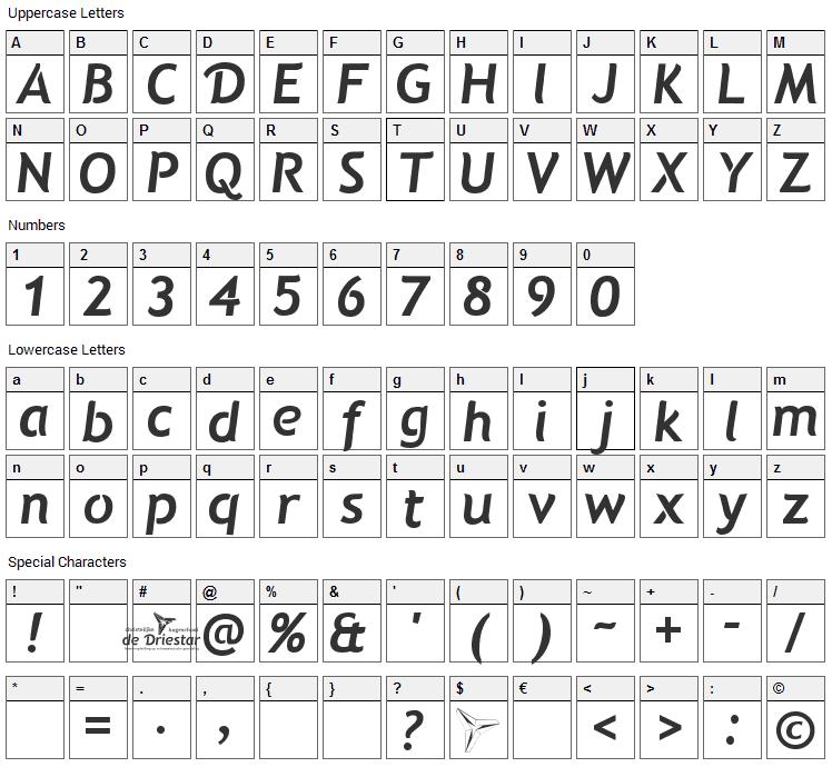 Natzilino Font Character Map