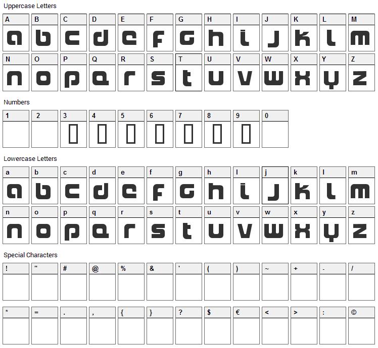 Naxalite Font Character Map