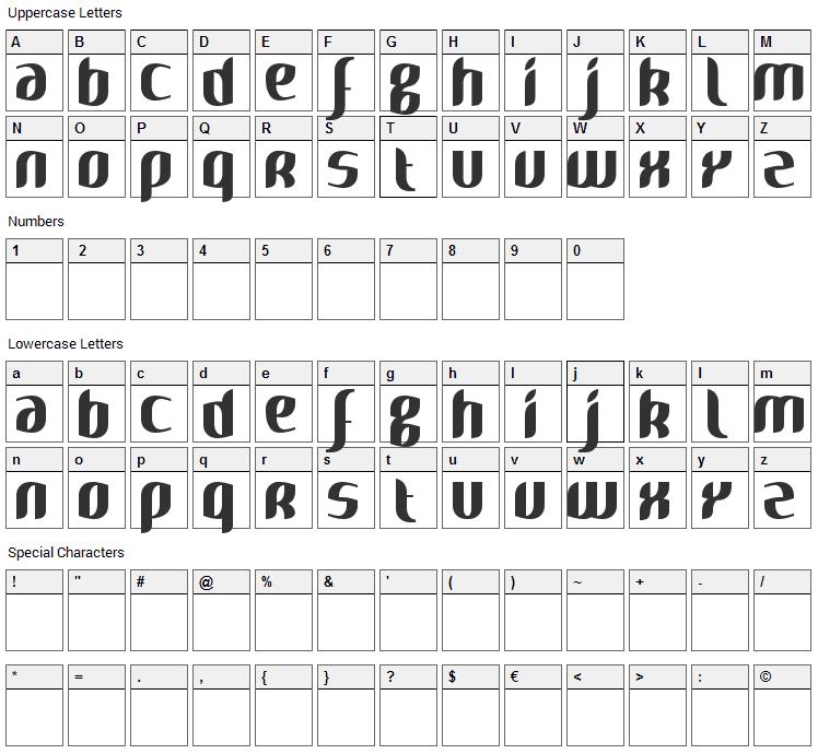 Naya Font Character Map