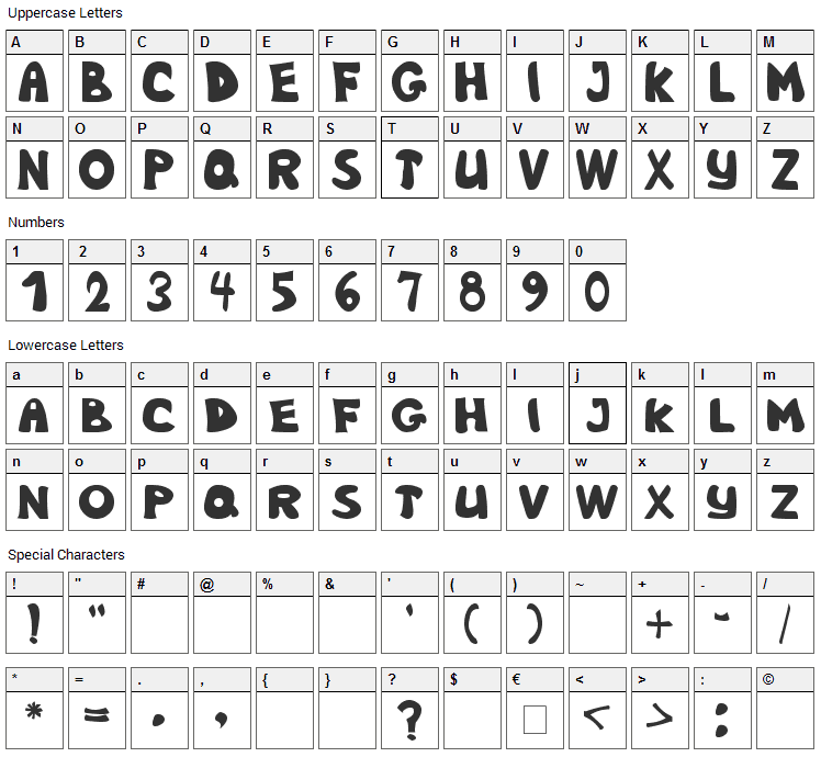 Nb Obese Font Character Map