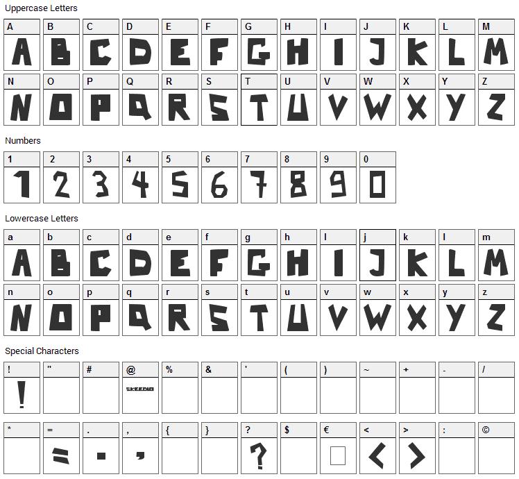Nb Strange Font Character Map