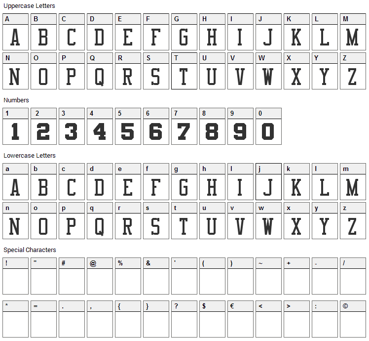 NBA Clippers Font Character Map