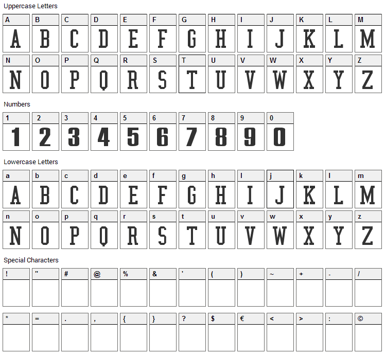 NBA Jazz Font Character Map