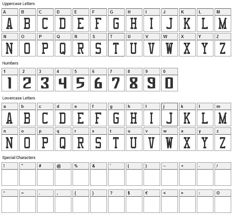NBA Kings Font Character Map