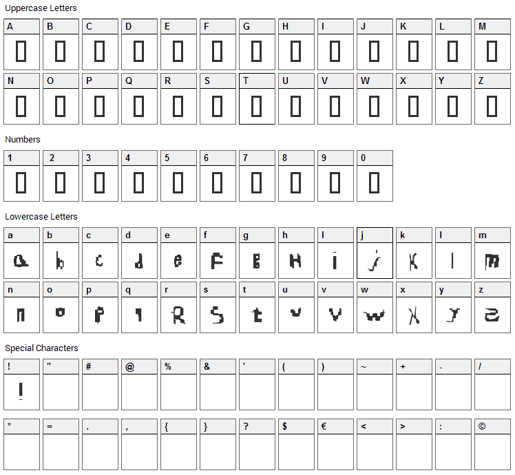Nearly Real Blud Font Character Map
