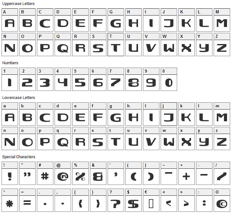 Nec Font Character Map