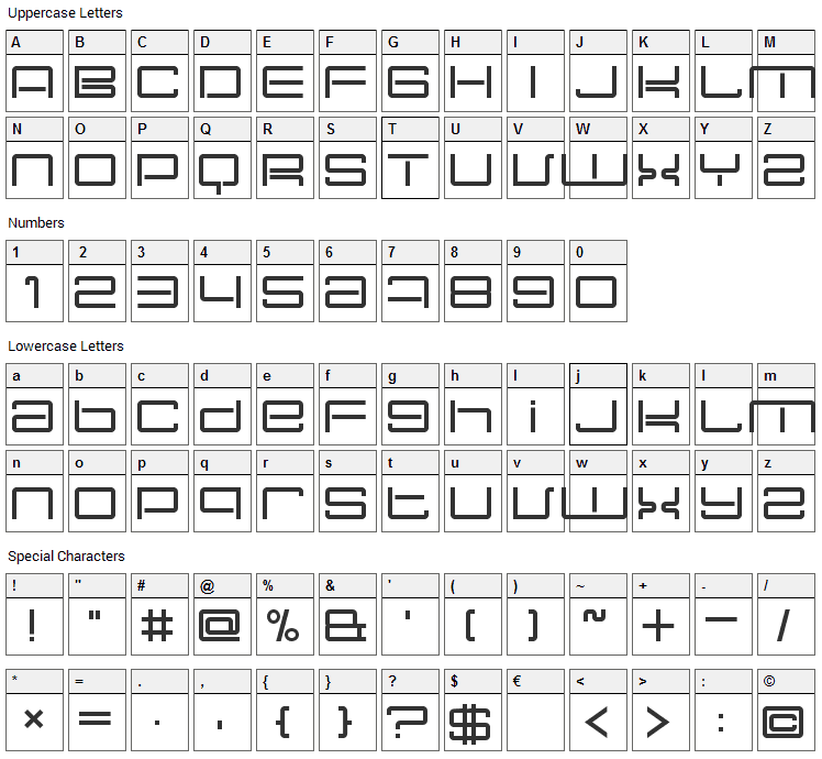 Nec Plus Ultra Font Character Map