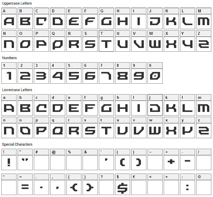 Nechao Sharp Font Character Map