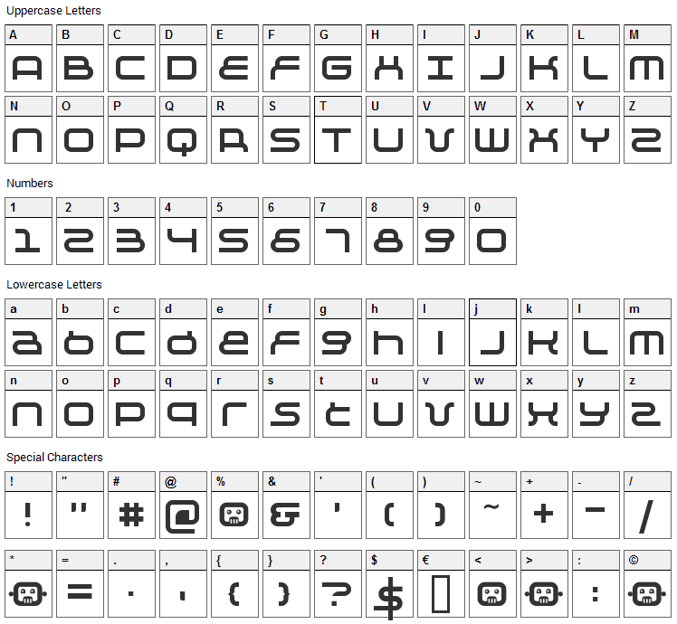 Negative Font Character Map