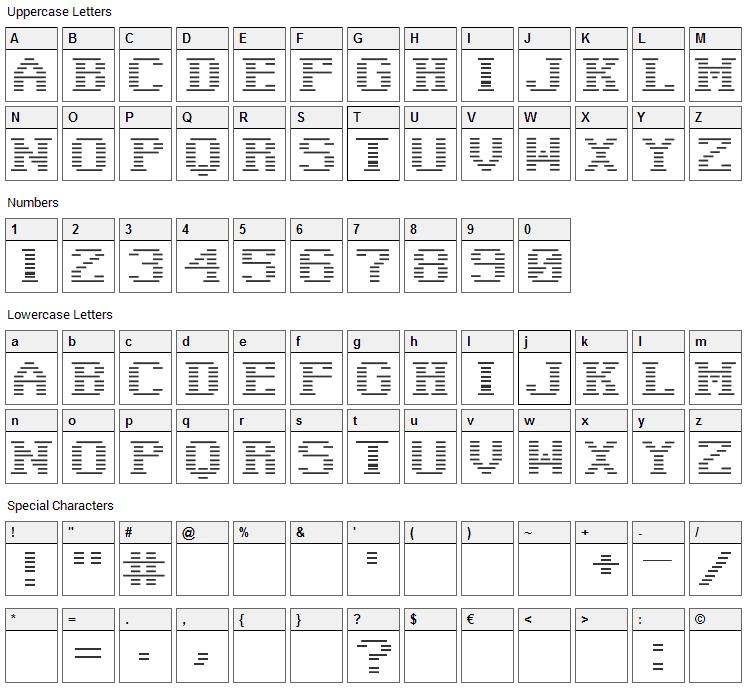 Negative Tuning Font Character Map