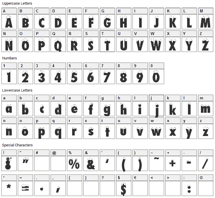 Neige Font Character Map