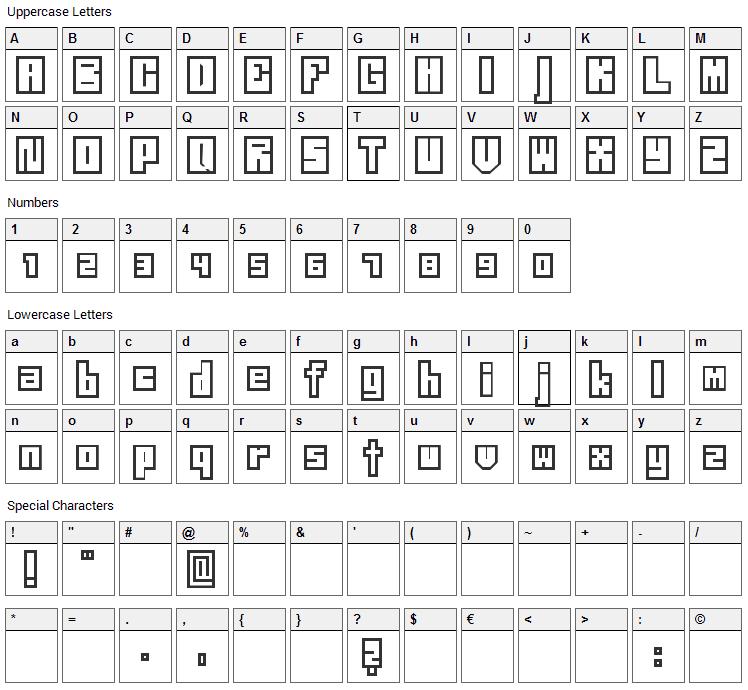Neistil Font Character Map