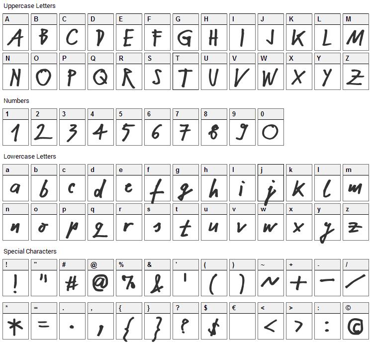 NekoKoNeko Font Character Map