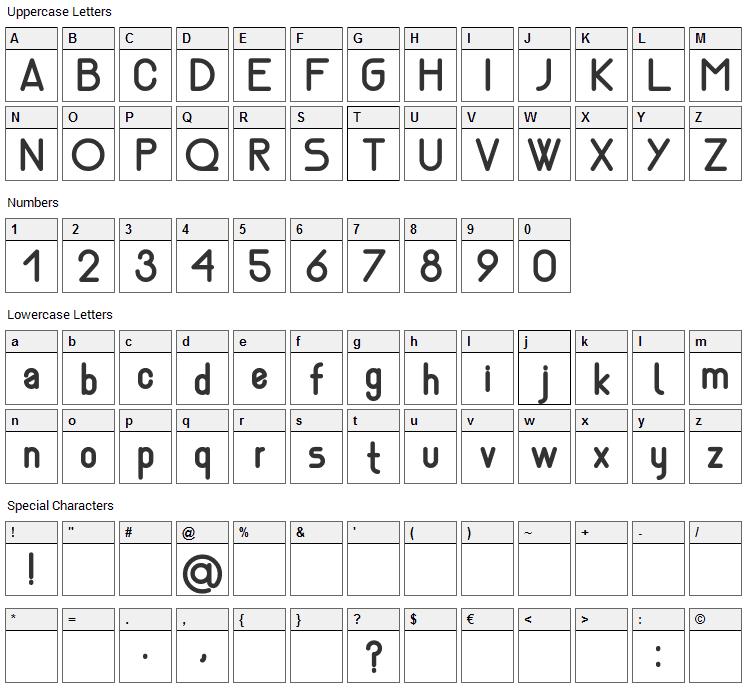 Nemesia Font Character Map
