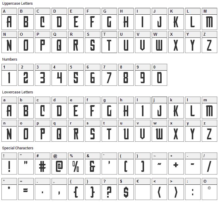 Nemesis Enforcer Font Character Map