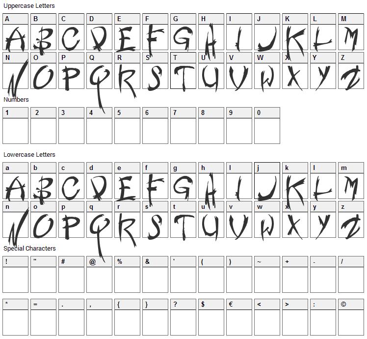 Nemesis Font Character Map