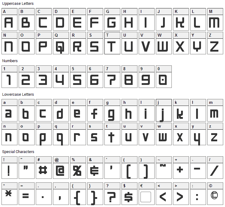 Neo Gen Font Character Map