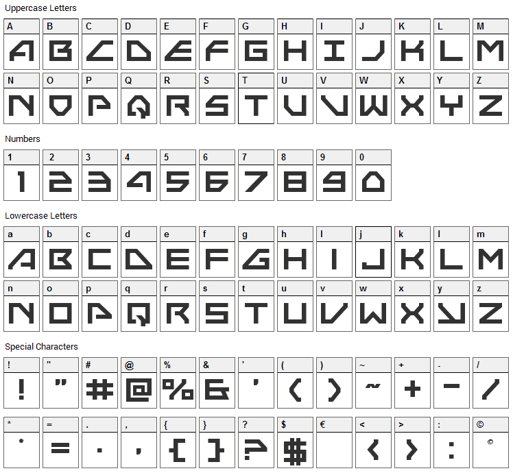 Neo-Navy Font Character Map