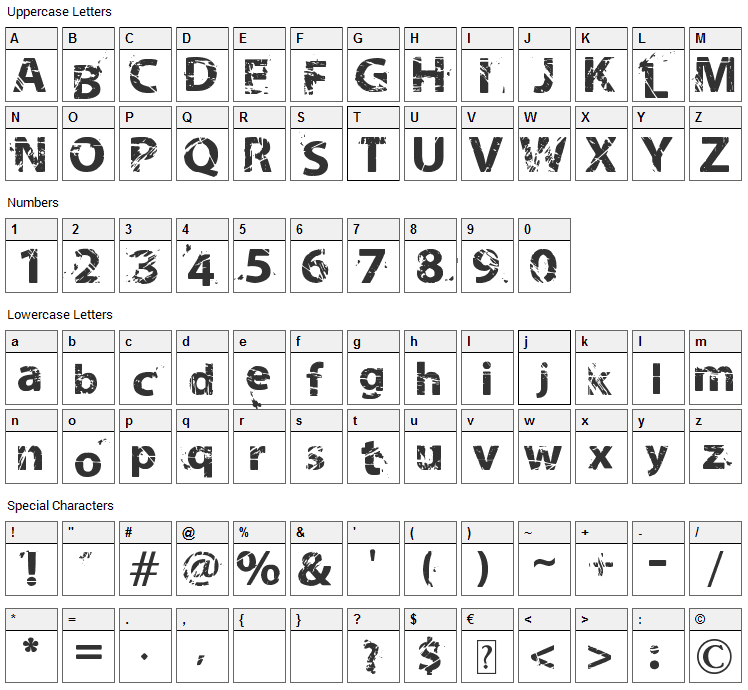 Neo Trash Font Character Map